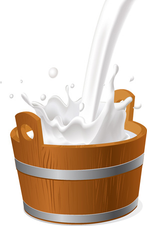 milk pail: wooden pail with milk pour isolated on white - vector illustration