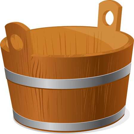 wooden bucket: wooden pail isolated on white background - vector