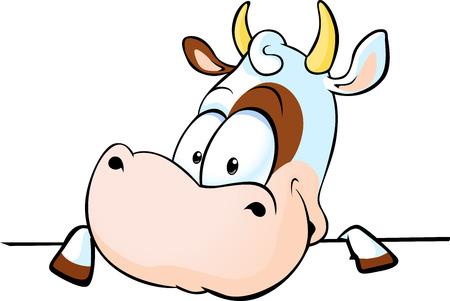 vaca se asoma desde detrás de una superficie blanca - ilustración vectorial