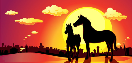 red sunset: banner horses in SUNSET above the city - vector illustration