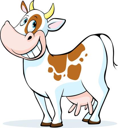 cartoon cow: divertido pie de la vaca de dibujos animados aislado en el fondo blanco - ilustraci�n vectorial