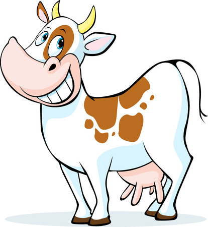 cow cartoon: funny cow cartoon standing isolated on white background  - vector illustration