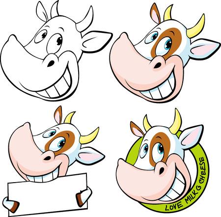 vaca caricatura: cabeza de vaca divertida - ilustración vectorial