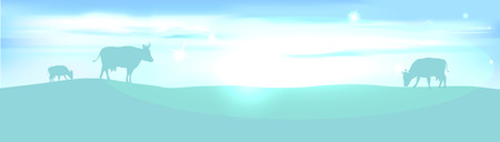 lightening: banner with lightening landscape and cow - vector