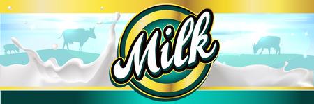leche y derivados: etiqueta de la leche de la bandera de dise�o con el chapoteo de la leche, el paisaje y la vaca - vector Vectores