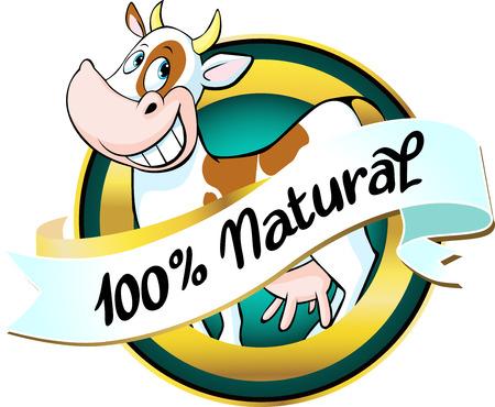 natural cow or milk label - vector Ilustração