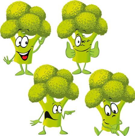 funny: broccoli - funny vector cartoon Illustration