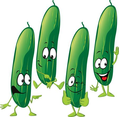 funny: cucumber - funny vector cartoon