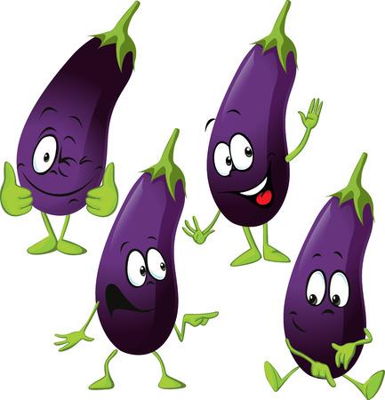 excited cartoon: eggplant - funny vector cartoon