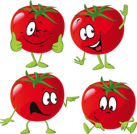 많은 표현, 손, 다리와 만화 토마토 일러스트