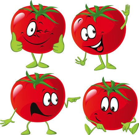 tomate: tomate de bande dessinée avec beaucoup d'expression, main et la jambe