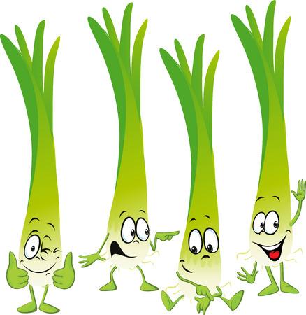 green onion: leek or green onion- funny vector cartoon Illustration