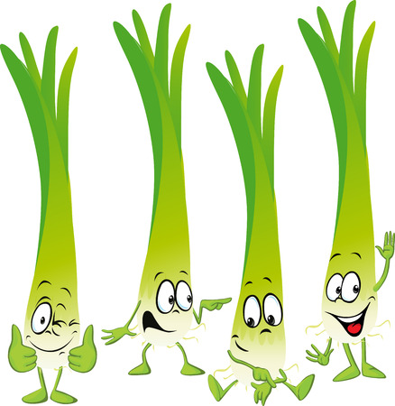 leek or green onion- funny vector cartoon Illustration