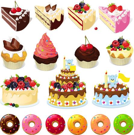 torta: Conjunto de dulces y pasteles - ilustración vectorial