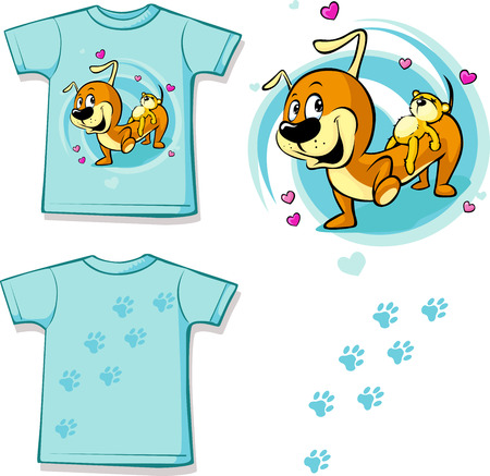 carries: Shirt with Cute Dachshund carries on his back a teddy bear - vector illustration Illustration