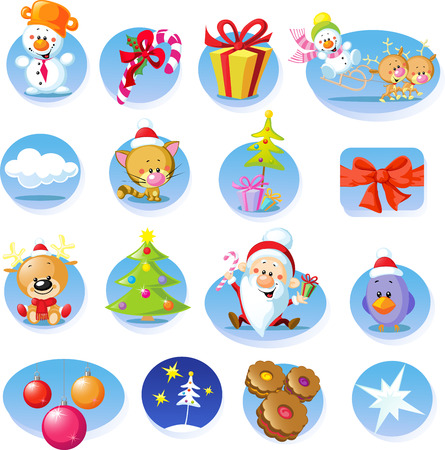 Set of Christmas icons - Vector illustration