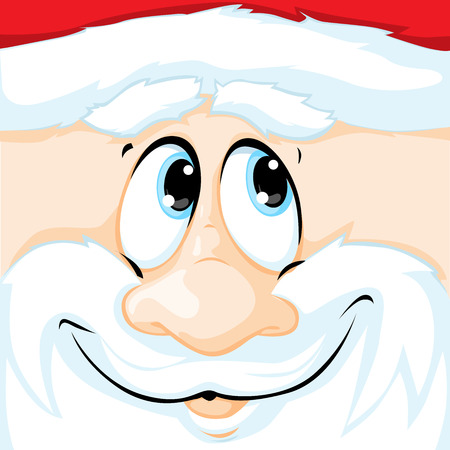 pink cap: vector Christmas illustration of Santa Claus in square - illustration Illustration
