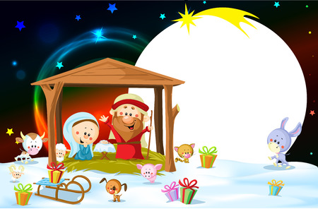 creche: Nativity in Bethlehem with animals