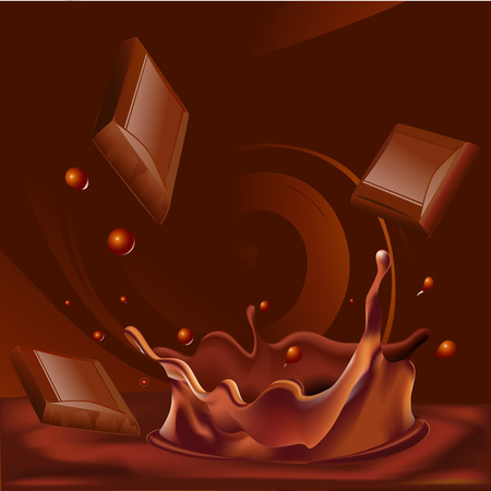 chocolate splash: abstract chocolate splash background - vector illustration