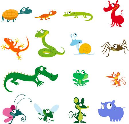 간단한 벡터 동물 만화 - 양서류, 파충류 등 생물
