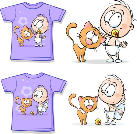 baby clothes: Shirt with Cute Baby and cat - vector illustration