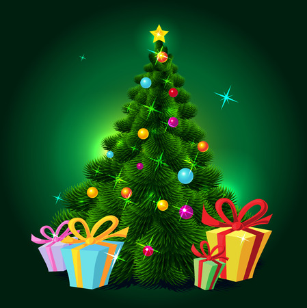 christmas tree illustration: Christmas tree - vector illustration Illustration
