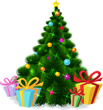 Christmas tree isolated - vector illustration Vectores