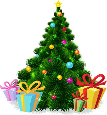 evergreen branch: aislado árbol de Navidad - ilustración vectorial Vectores