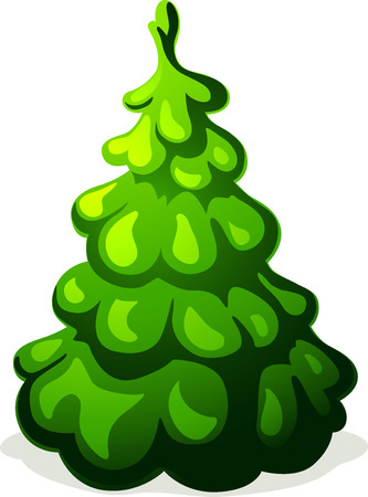 christmas tree illustration: green christmas tree isolated on white background - vector illustration