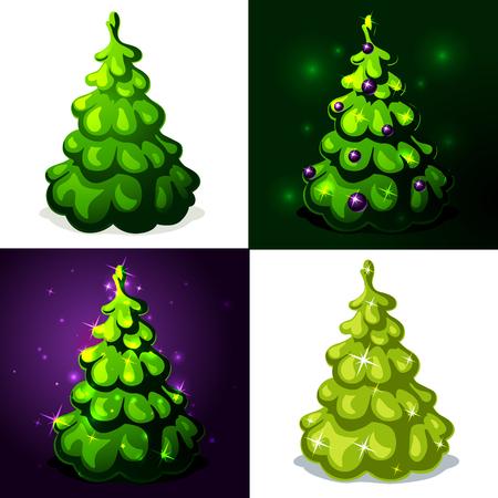 christmas tree illustration: green christmas tree - vector illustration Illustration