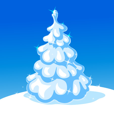 christmas tree illustration: white christmas tree - vector illustration