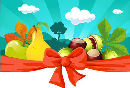 fruit tree: Autumn still life with fruit, vegetables, tree and chestnuts - vector