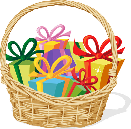gift basket: basket full of gift isolated on white - vector illustration