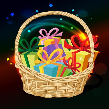 gift basket: basket full of gift - vector illustration
