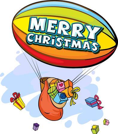 gift season: airship full of gifts - vector illustration