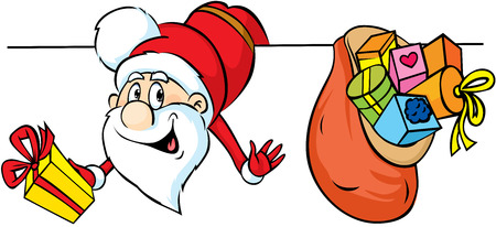 funny guys: Funny Santa peeking around white areas and holding gifts - vector illustration Illustration