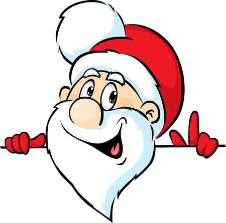 peeking: Santa Claus peeking around a white background