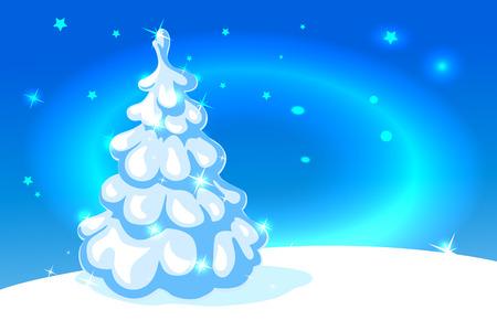 christmas tree illustration: white christmas tree on blue shining background - vector illustration Illustration
