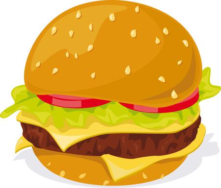 buns: Hamburger - illustration on white background Illustration