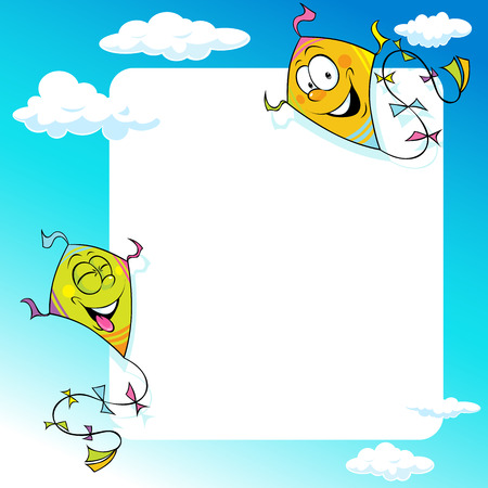 flying kite: design with two flying kite - vector illustration frame background