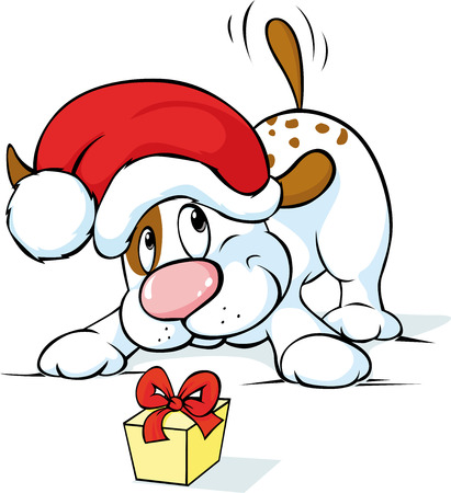 wag: Cute dog with santa hat and gift - vector illustration Illustration