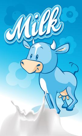 vacas lecheras: Linda flujo sonriente azul en el dise�o de la leche azul - ilustraci�n vectorial Vectores