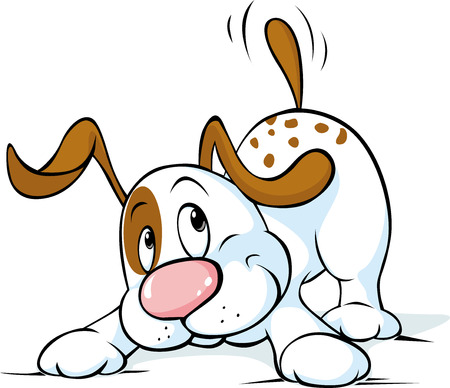 wag: Cute dog wags his tail and wants to play - vector illustration