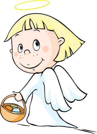 habits: Angel - vector illustration isolated on white background.