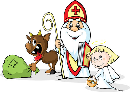 saint: Saint Nicholas, devil and angel - vector illustration isolated on white background. During the Christmas season they are warning and punishing bad children and give gifts to good children.