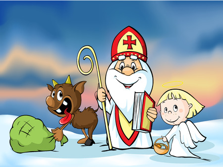 Saint Nicholas, devil and angel - vector illustration.  During the Christmas season they are warning and punishing bad children and give gifts to good children. Vettoriali