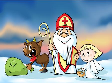 teufel und engel: St. Nikolaus, Teufel und Engel - Vektor-Illustration. Während der Weihnachtszeit warnen sie und bestrafen schlechte Kinder und geben Geschenke an brave Kinder.