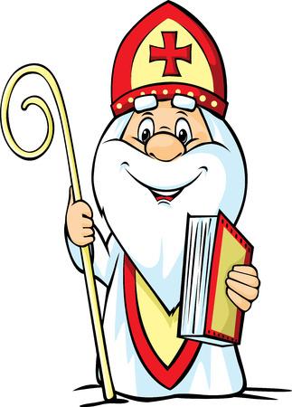 Sinterklaas - vector illustratie geïsoleerd op een witte achtergrond. Stock Illustratie