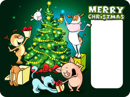 cow bells: farm animals celebrate Christmas under the tree - vector illustration xmas card Illustration