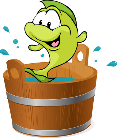 wooden bucket: carp fish splash around in the tub with water - vector illustration